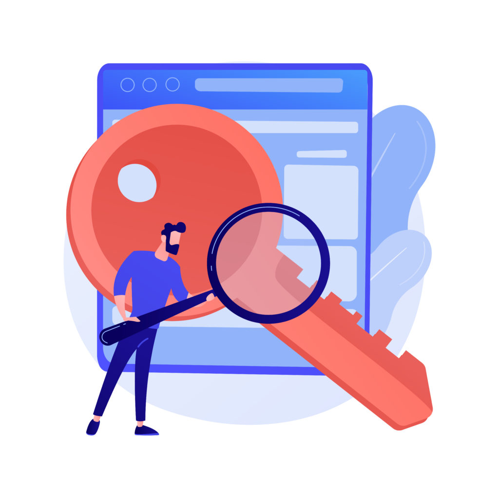 Keywords searching. SEO, content marketing isolated flat design element. Business solution, strategy, planning. Man holding magnifier and key. Vector isolated concept metaphor illustration